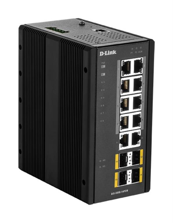 Switch Manageable PoE L2 Industriel 14 Ports - 10 ports Gigabit dont 8 PoE + 4 ports SFP - Format Rail-DIN