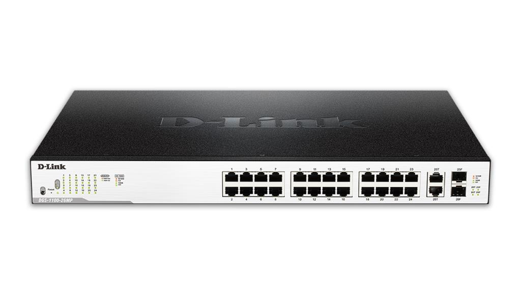 "Switch Easy Smart - D-Link 26-Port PoE Gigabit - ports PoE 1-24 - 2 ports combo/SFP - 11"" rackable"