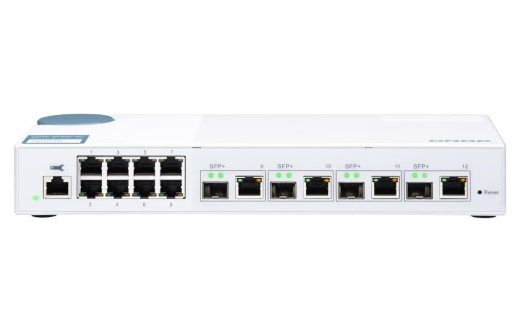 Switch 10Gb QNAP 12 ports : 2 x 10SFP+ 2 x10Gbe Base-T+ 8 x Gigabit et 4 ports combo 10GbE SFP+/RJ45 - (Transceivers en options)