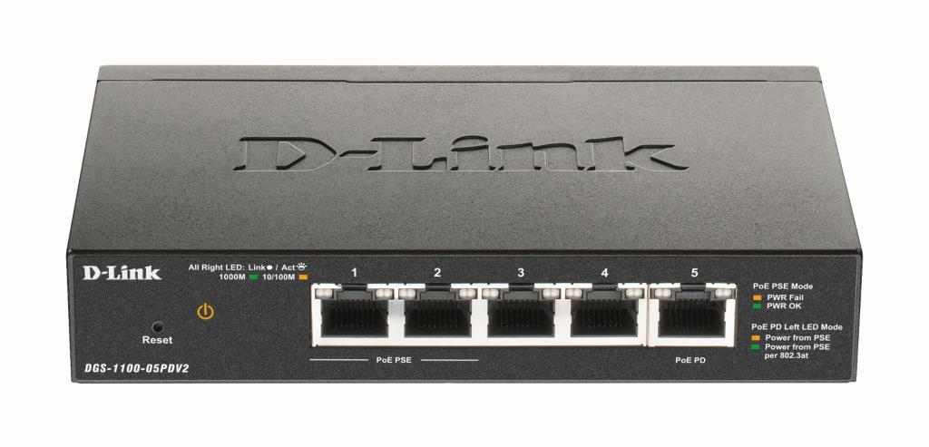 D-Link Switch EasySmart PoE - 5x Gbit dt 1x Pass through 18W en 802.3at