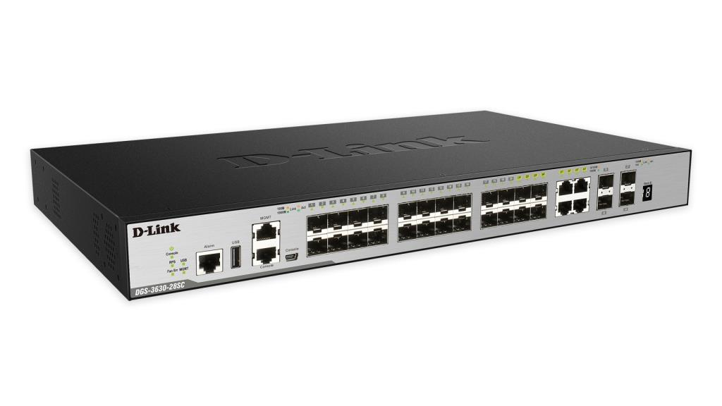 Switch D-Link L3 xStack3630-28SC - 24 ports SFP dont 4 Combo 1000Base-T/SFP & 4 ports 10GE SFP+